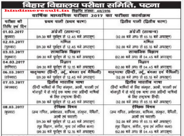 biharboard.ac.in 2017 BSEB 10th time table