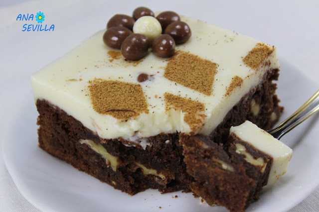 Tarta brownie y flan con Thermomix.
