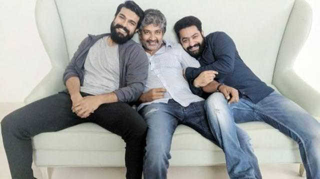 Ram Charan, Jr NTR and SS Rajamouli in RRR