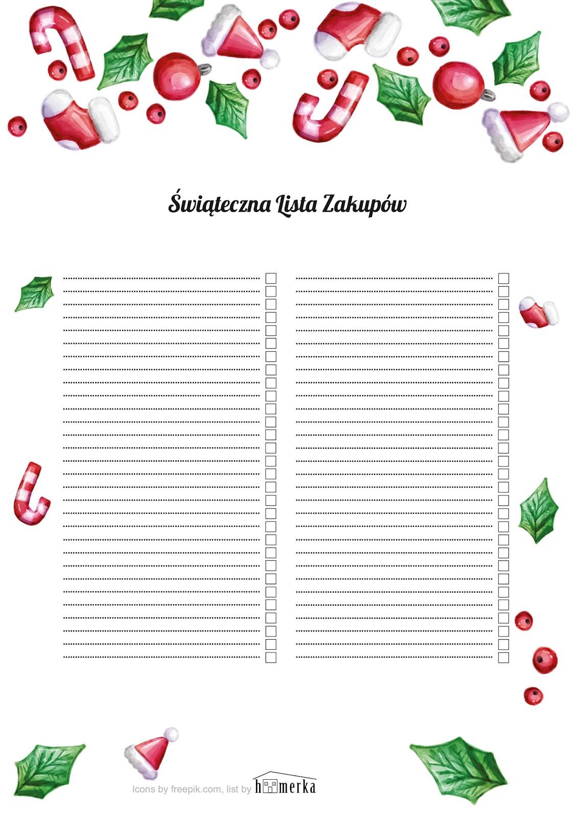 Świąteczna lista zakupów do pobrania w 3 wersjach
