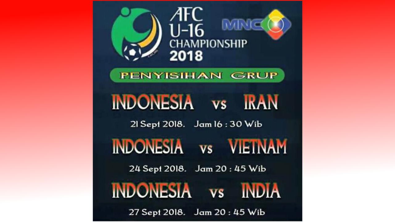 Jadwal Timnas Indonesia U-16 di Piala AFC 2018