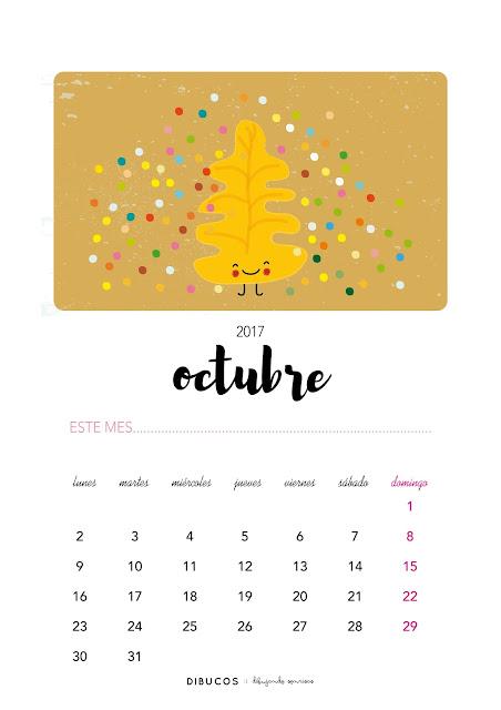 Dibu calendario imprimible gratis para octubre