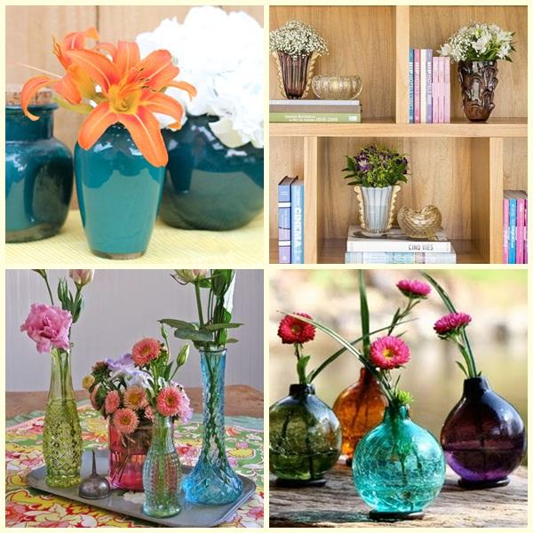 decoração com vasos coloridos
