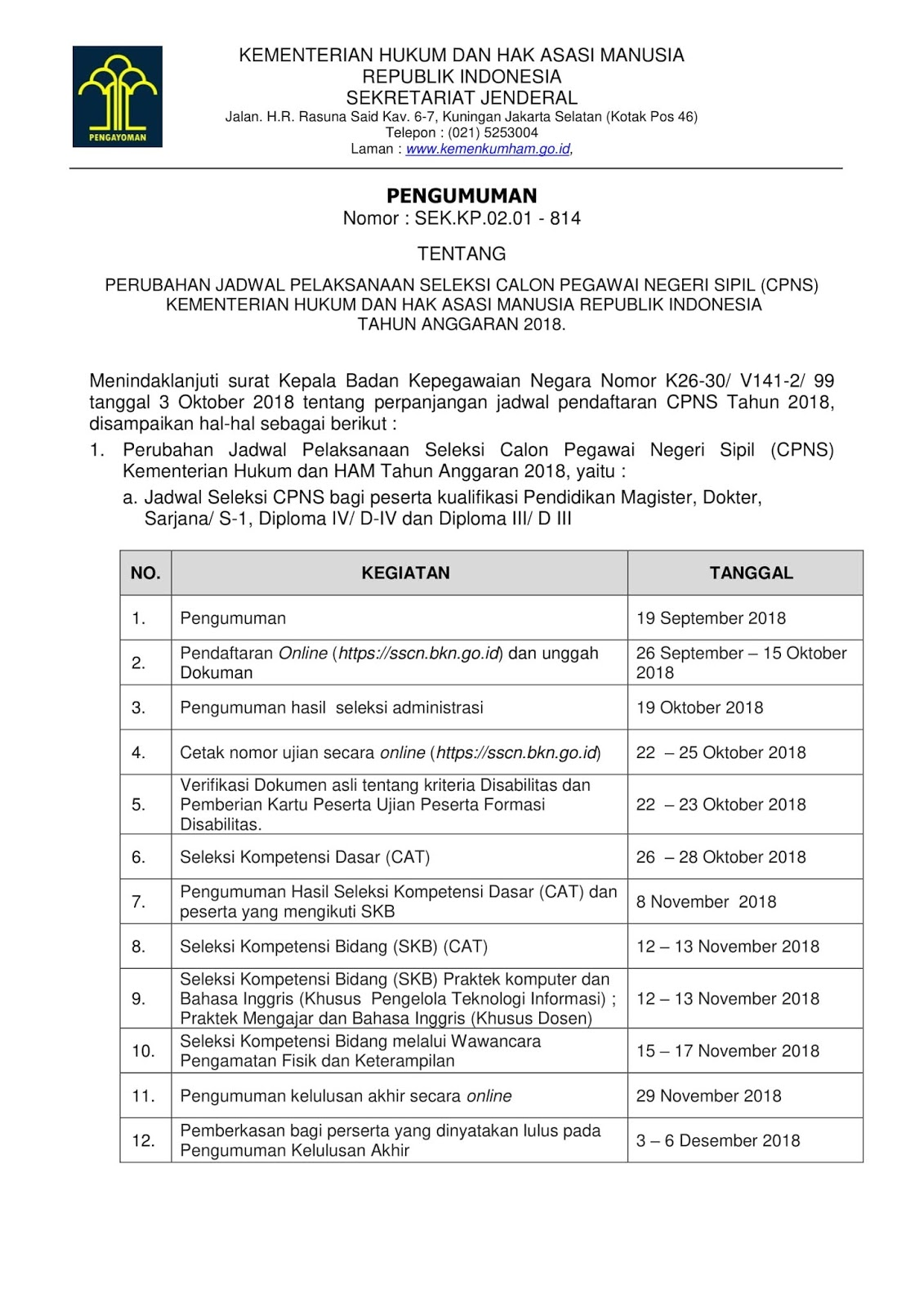Pengumuman Resmi Perubahan Jadwal Pendaftaran Pelaksanaan CPNS Kemenkumham