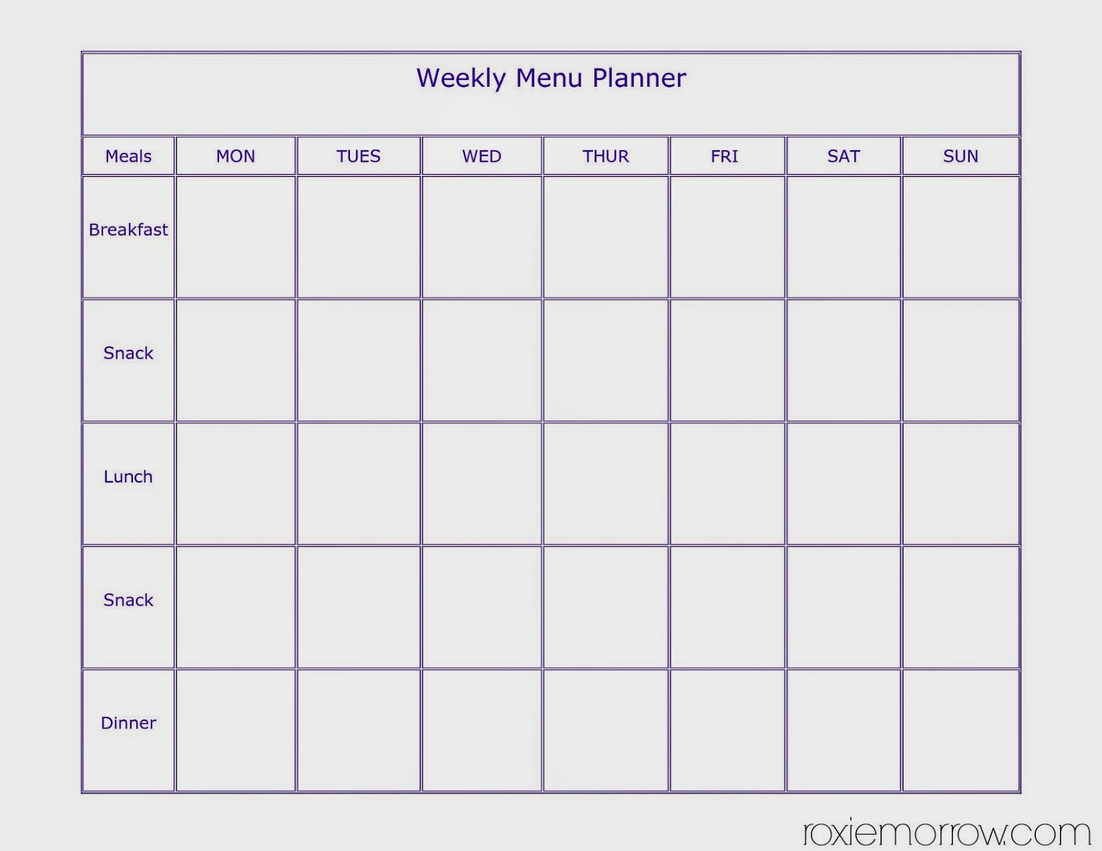 Blank Meal Planner Plan Template Weekly Free