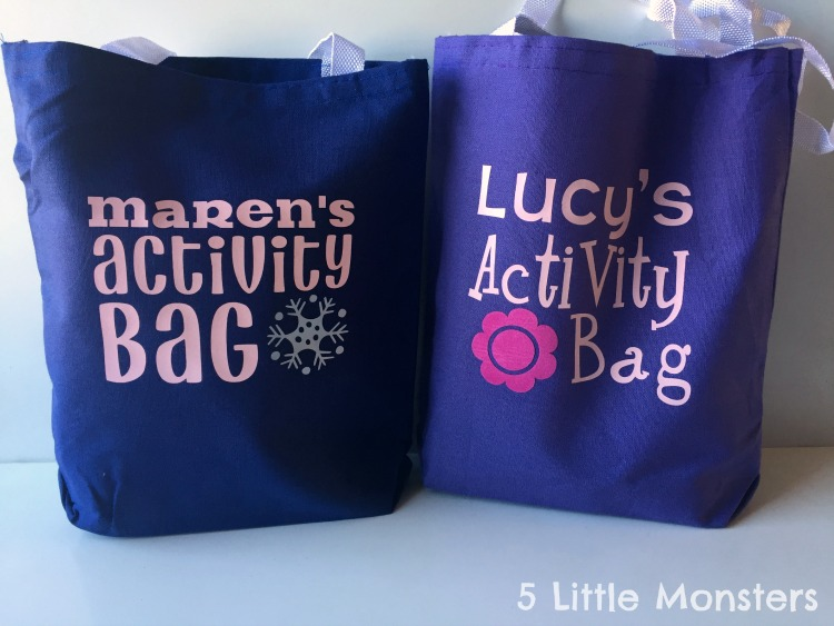 activity bags filled with snacks and toys to keep kids happy and busy.
