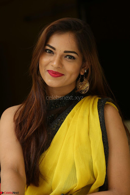Cute Actress Ashwini in Yellow Saree Exclusive  002.JPG