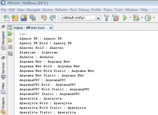 Cara Menampilkan Semua Nama Fonts Beserta Familynya Dengan Java