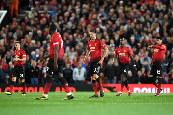 Players of Manchester United looks dejected during the Premier League match between Manchester United and Tottenham Hotspur at Old Trafford on August 27, 2018 in Manchester, United Kingdom