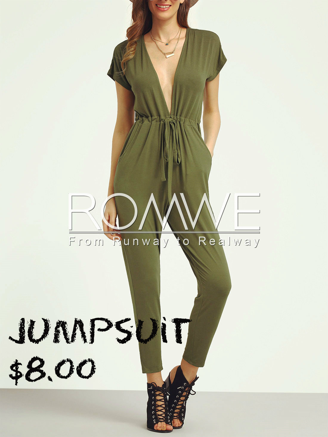 Army Green Deep V Neck Tie Jumpsuit
