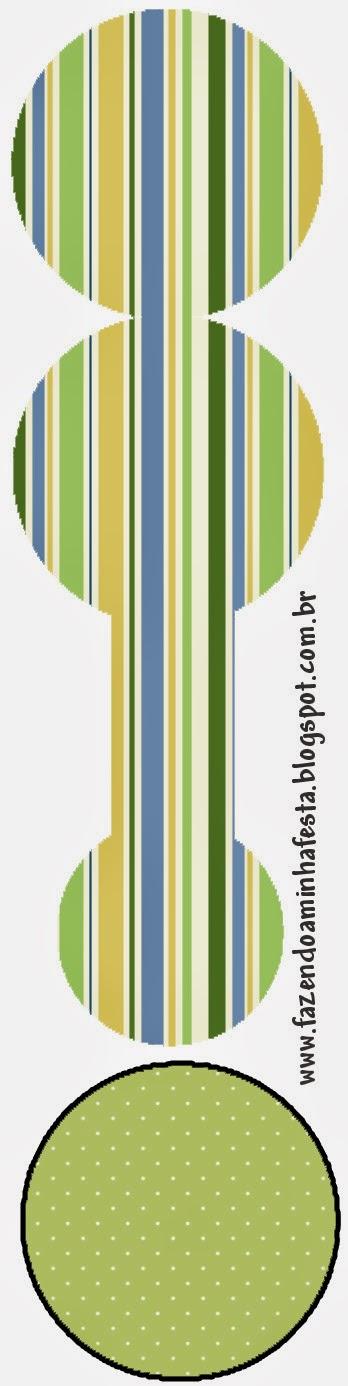 Tarjeta con forma de sonajero de Verde, Azul y Naranja