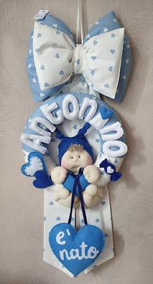 fiocco nascita maschietto azzurro cuoricini