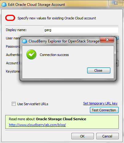 Oracle Cloud Storage Account Test Connection