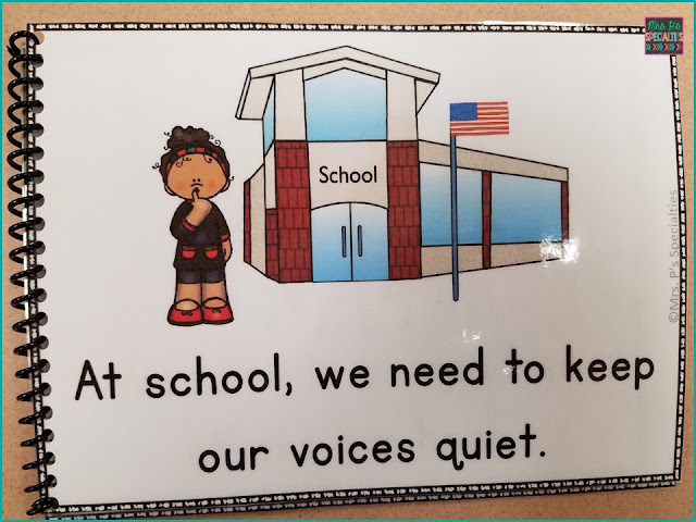 An example of a social story about being quiet in school.