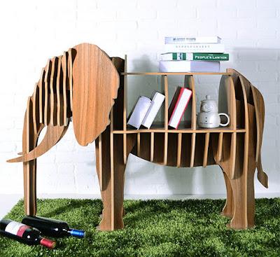 Diseño industrial de mueble en forma de elefante.