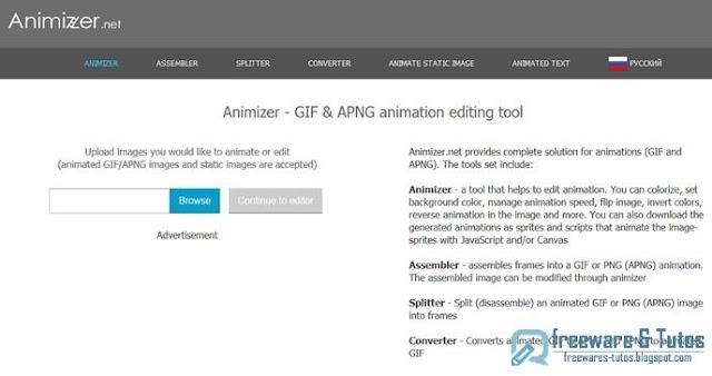 Animizer : un outil en ligne pour créer/éditer des fichiers GIF