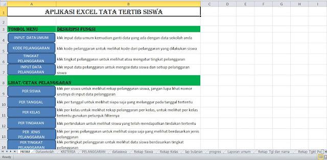 Download Aplikasi Tata Tertib Sekolah Format Excel Jenjang SD SMP SMA SMK MA MTS MI