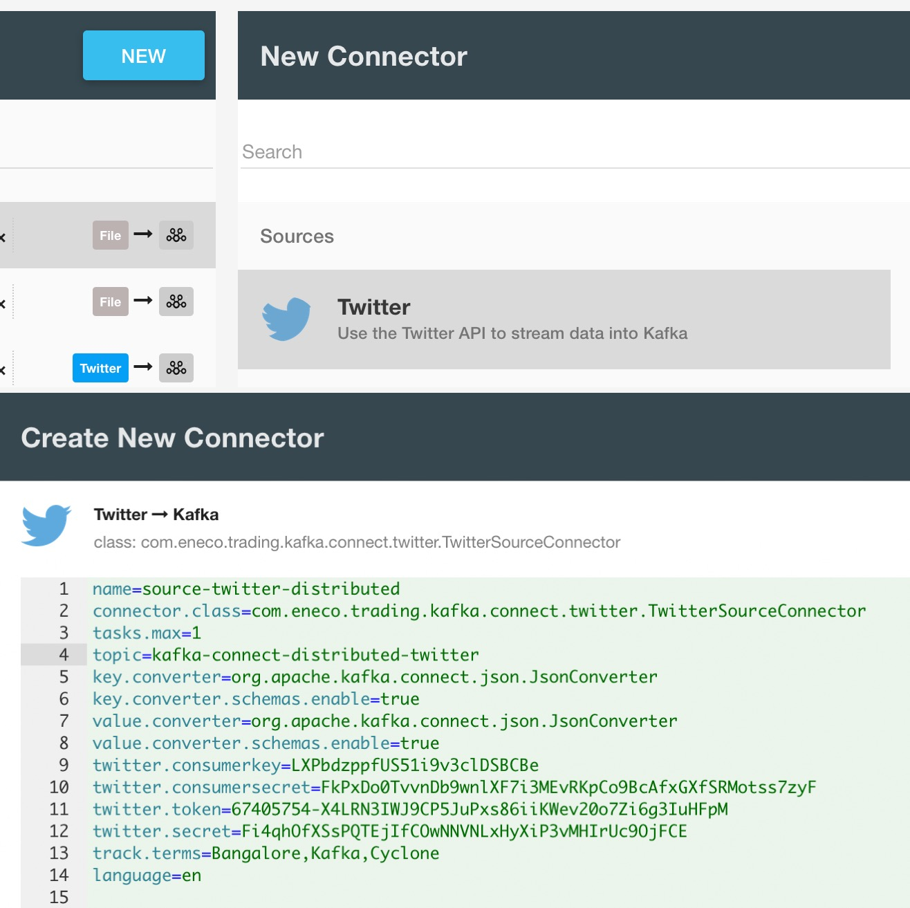 Twitter Kafka connector : How to fetch tweets from twitter