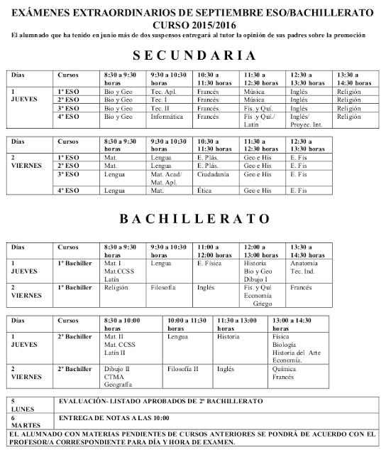 Imprimir exámenes de septiembre