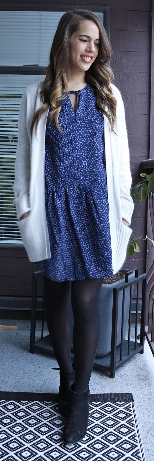 Jules in Flats - Talula Lenox Cardigan, Old Navy Pleated Tie-Neck Dress, Steve Madden Jaydun Booties