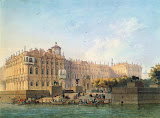 Neva Embankment by the Western Facade of the Winter Palace by Ludwig Franz Karl Bohnstedt - Cityscape Drawings from Hermitage Museum
