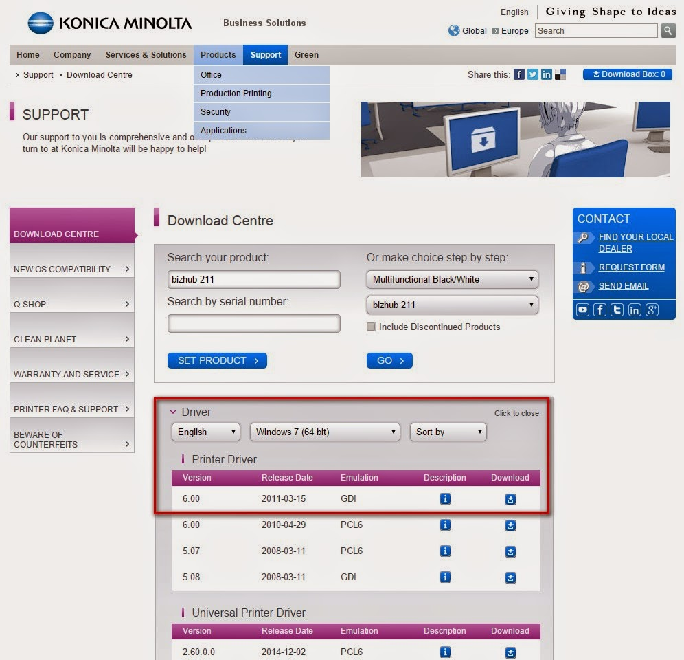 and IT works: How to install Konica Minolta Bizhub 211