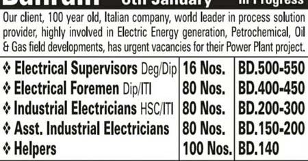 Power Plant - Oil & Gas Jobs in Bahrain | Italian Company