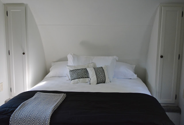 Gray and black Camper Queen bed, White paint.