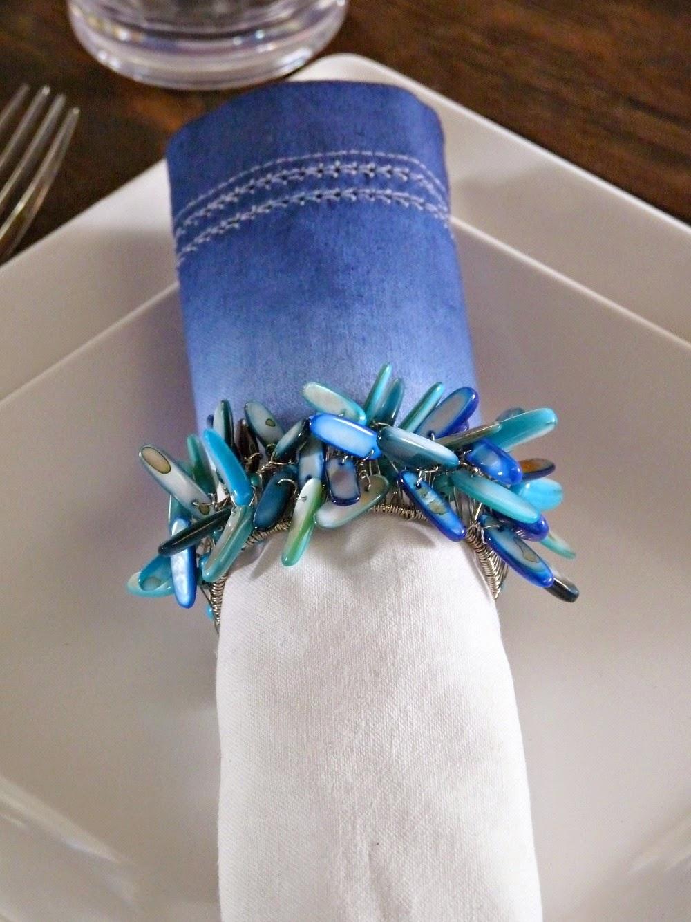 Blue and aqua table setting