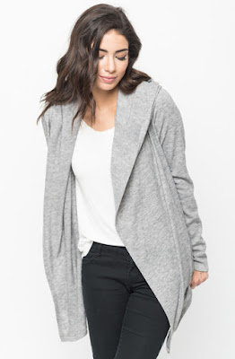 Buy Now Grey Hooded Cardigan Online $10 -@caralase.com