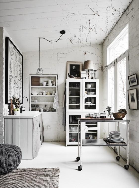 cocina nordica blanca vintage ladrillo visto estilo nordico estilo escandinavo decoración nordica
