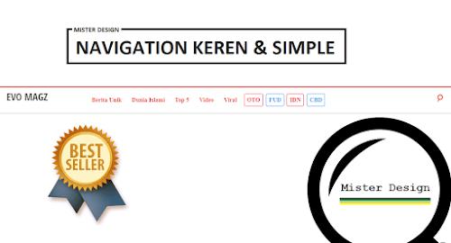 Cara Membuat Menu Navigation Simple  di Samping Header Responsive