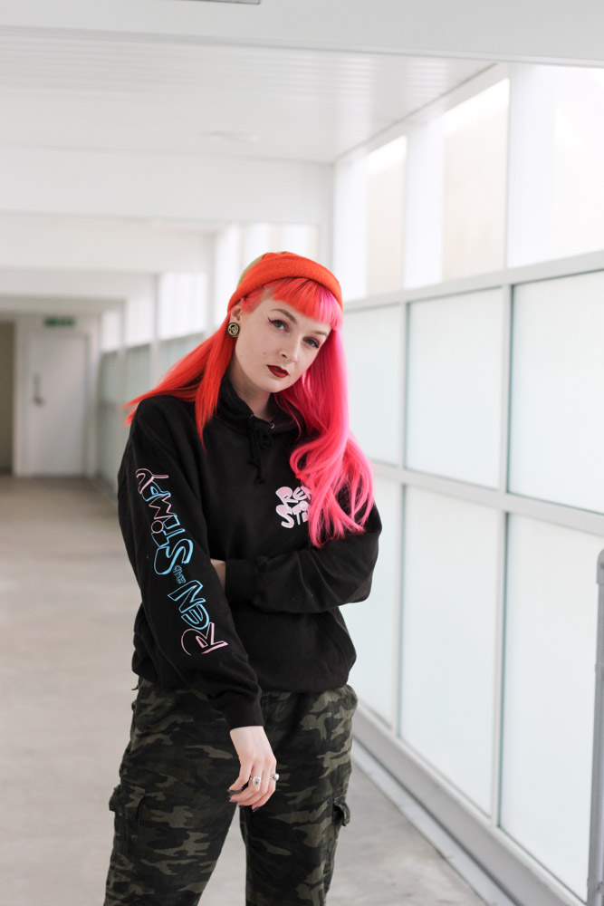 Alternative Fashion Blogger Foxxtailz Styles Ren and Stimpy hoodie