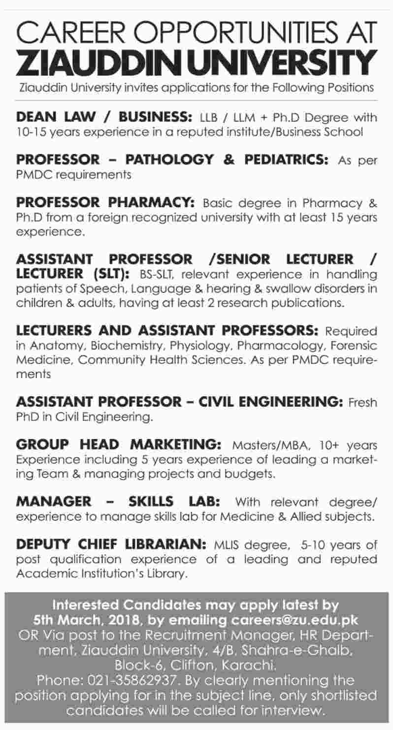 Ziauddin University Jobs In Karachi Dean Professors Assistant