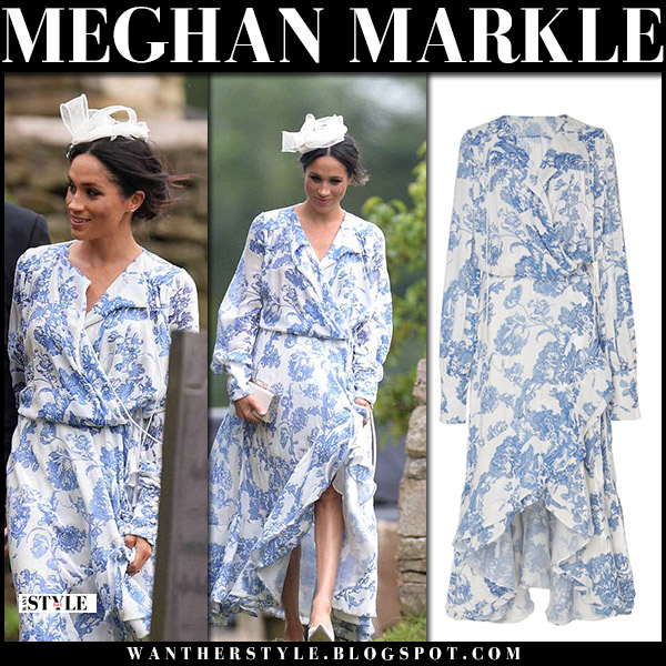 meghan markle in blue and white floral dress at celia