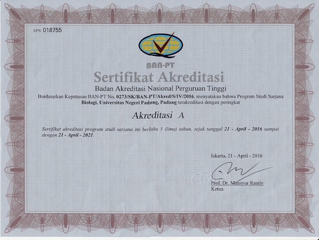 Download Sertifikat Akreditasi Program Studi Biologi UNP