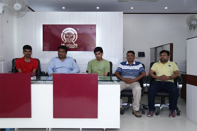 L-R Arsh Gautam,  U.P Singh (Director of Dwarka Branch) Narayana Group, Shubham Atri, Mukesh Atri (Father of Shubham Atri)-