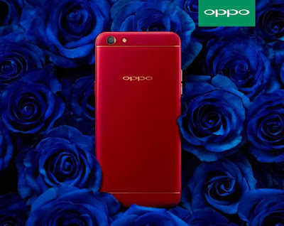 OPPO F3 Red on blue background