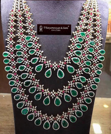 3 Layer Emerald Set by Satyanarayana Jewels