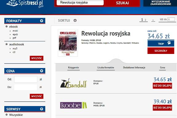 Lista ofert cenowych w wyszukiwarce e-booków Spistresci.pl