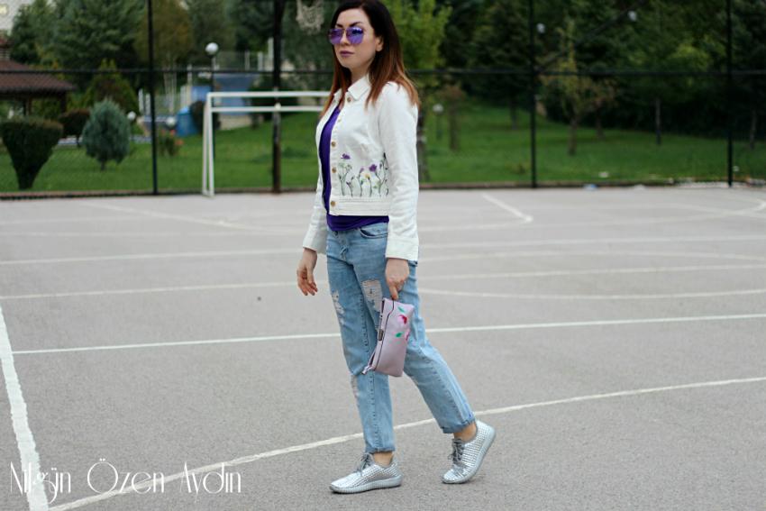 alışveriş-Metalik Spor Ayakkabılar ve Beyaz Kot Ceket-moda blogu-fashion blog