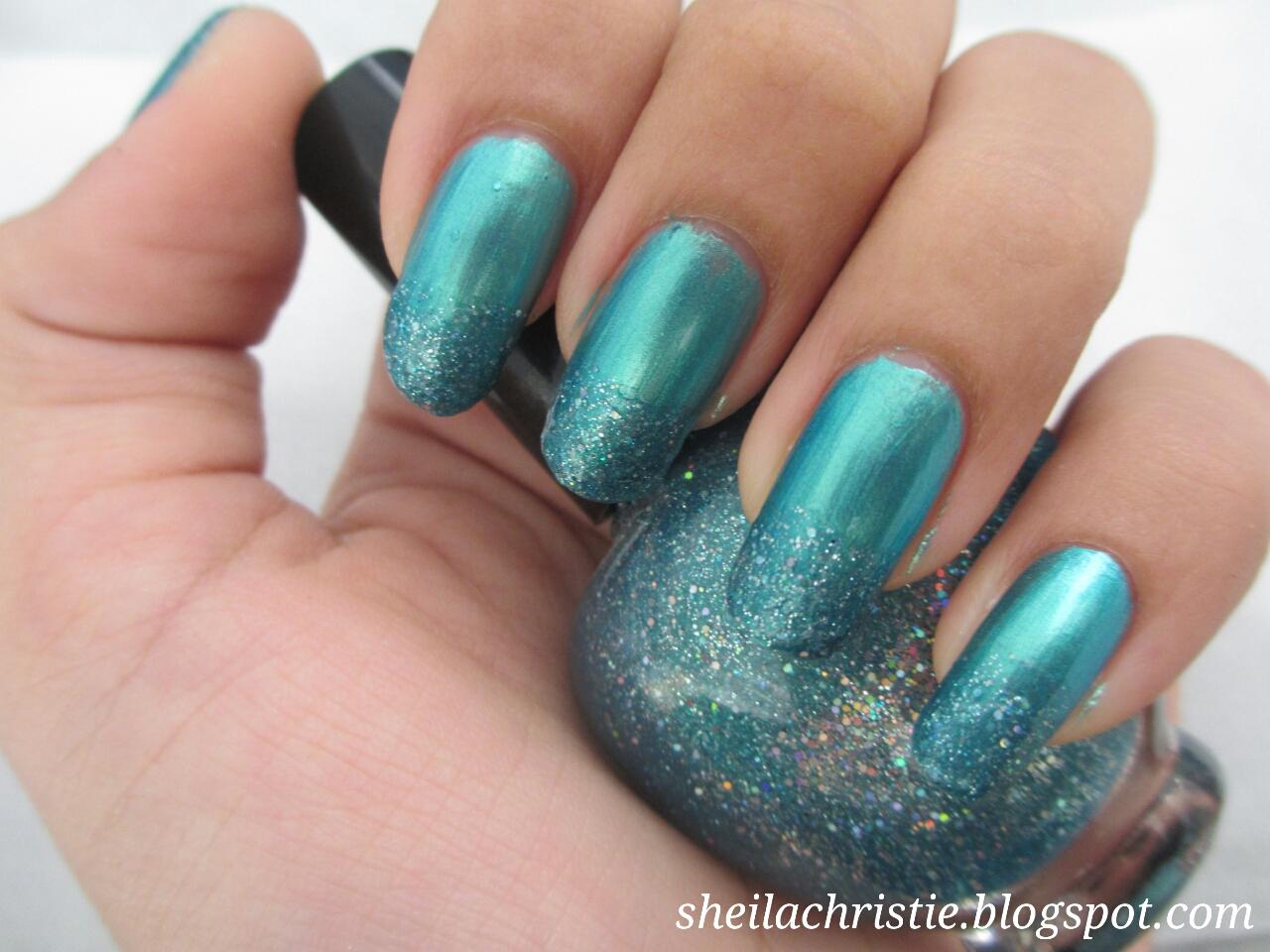 green mermaid nails french glitter manicure glamoflage. Black Bedroom Furniture Sets. Home Design Ideas