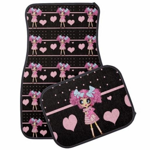 pink black girly car mat set floor