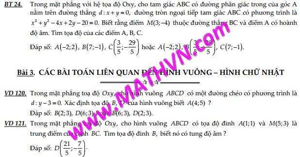 chuyen de hinh hoc phang oxy on thi thpt quoc gia