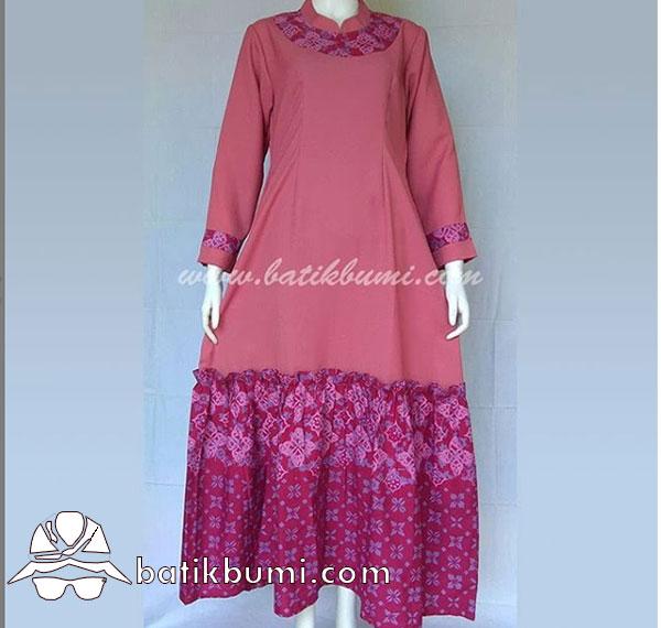 Gamis Batik Cap Motif Diamond Marun