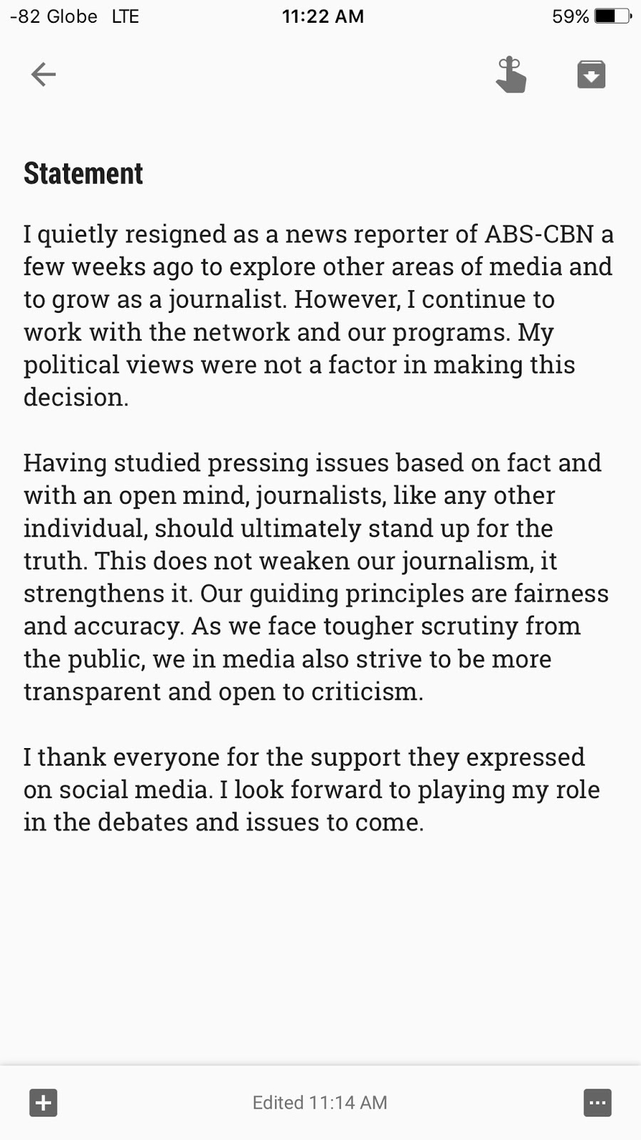 Atom Araullo on Sunday has released statement
