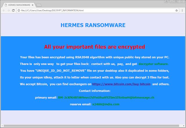 Hermes Ransomware - Βρήκαμε λύση μην πληρώσετε τα λύτρα