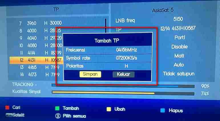 Cara Mencari Channel Feed Asiasat 5 - Kreasi Parabola