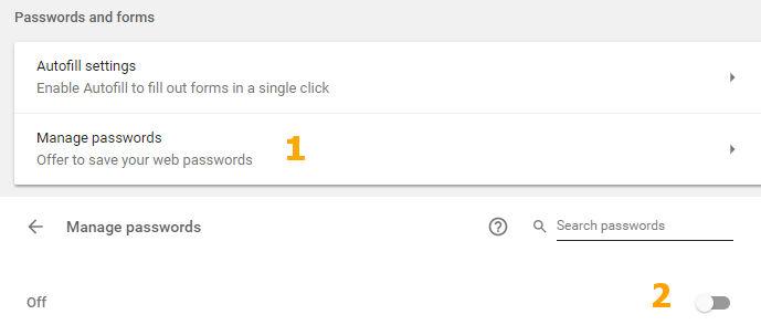 Non-aktifkan penyimpanan password di Google Chrome