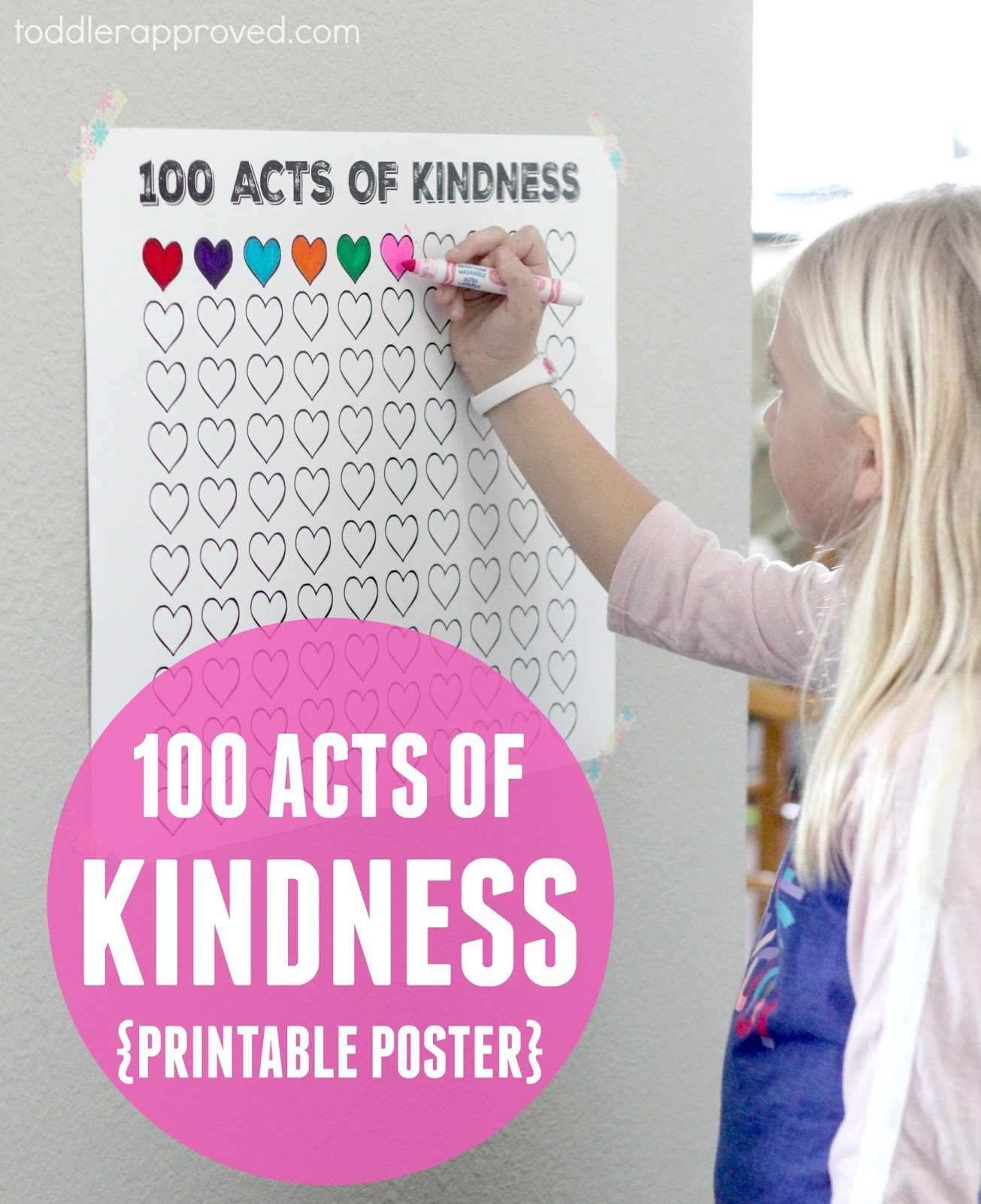 Toddler Approved 100 Acts Of Kindness Free Printable Countdown Poster